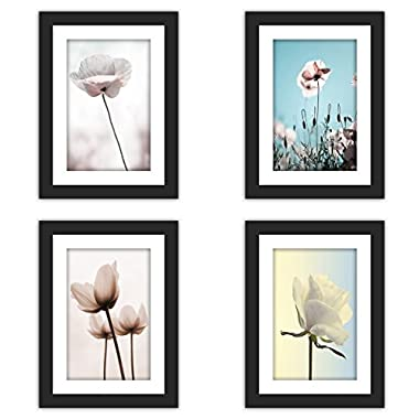 4x Real Glass Wood Frame Black Fit 5x7  ,1 Mat Matted Fit Image Pictures Photo 4x6  Desktop Stand or Wall Hang Vertical Horizontal Family Decoration (29-32)