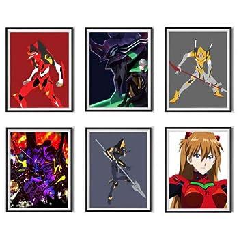 Neon Robot Illustration Anime Eva-01 Asuka Fabric Canvas Art Print Poster 8 x 10 Inches,Set of 6,No Frame
