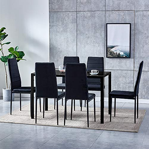 BOJU Modern Dining Room Set Furniture Black Tempered Glass Table and 6 Kitchen Chairs Velvet Upholstered Seat (1 Table 6 Chairs)