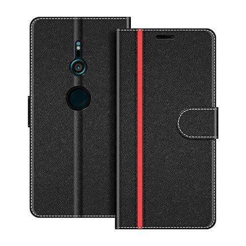 COODIO Handyhülle für Sony Xperia XZ3 Handy Hülle, Sony Xperia XZ3 Hülle Leder Handytasche für Sony Xperia XZ3 Klapphülle Tasche, Schwarz/Rot