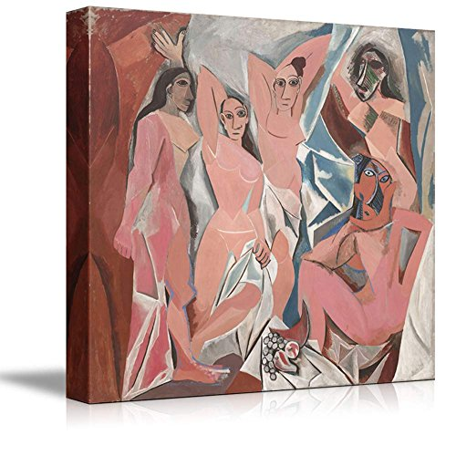 wall26 Les Demoiselles d'Avignon (The Young Ladies of Avignon) by Picasso Giclee Canvas Prints Wrapped Gallery Wall Art | Stretched and Framed Ready to Hang - 12' x 12'