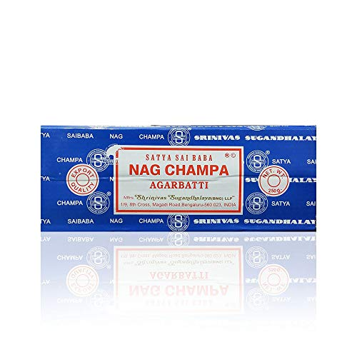 Satya Sai Baba Nag Champa Agarbatti Incense Sticks Box 250gms Hand Rolled Agarbatti Fine Quality Incense Sticks for Purification, Relaxation, Positivity, Yoga, Meditation