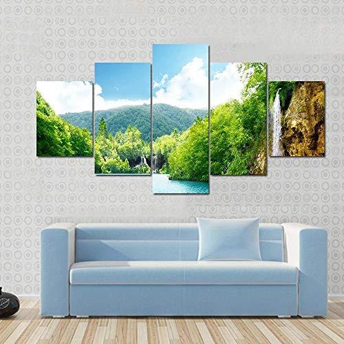 QWASD Cascada del Bosque Croata 5 Piezas Cuadros Lienzo Decoracion Salon Modernos De Pared Papel Pintado Murales Pintura Póster Fotos Regalo