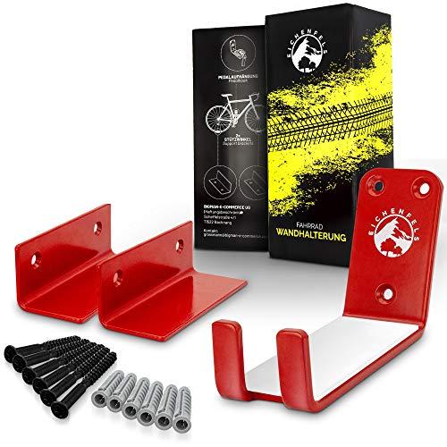 EICHENFels, supporto da parete per bicicletta, per tutti i tipi di bicicletta, materiale di fissaggio fino a 32 kg, certificato TÜV, E-Bike Mountain Bike da corsa (rosso)