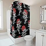 Sweet Luck Chinesisch Drache Sonne Duschvorhang Anti-Schimmel Wasserdicht Waschbar Stoff Vorhang Polyester Textil Bad Vorhang mit Duschvorhängeringen für Badezimmer White 120x180cm
