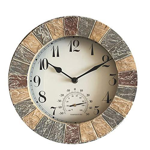 """QHTC Garden Wanduhr mit Thermometer -25,5 cm,Slate Effect,Outdoor römische Ziffern wasserdichte Uhr (10"""")"""