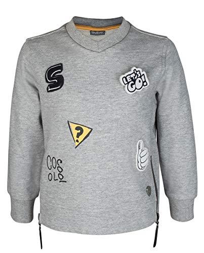 GULLIVER Kinderen Sweatshirt Trui Jongens Trui Pullover Grijs met Patches 2-7 Jaar 98-116 cm