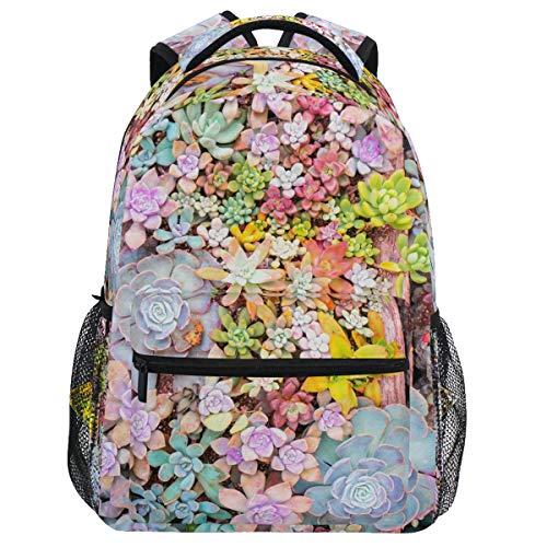 Oarencol Suculents Cactus Natural Mochila de flores coloridas bolsa de día de viaje senderismo camping escuela portátil