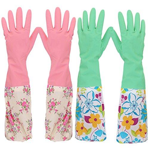 kilofly 2 pares de guantes de látex para limpieza de lavava