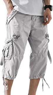 Men's Washed Cotton Multi-Pockets Below Knee Long Military Cargo Shorts