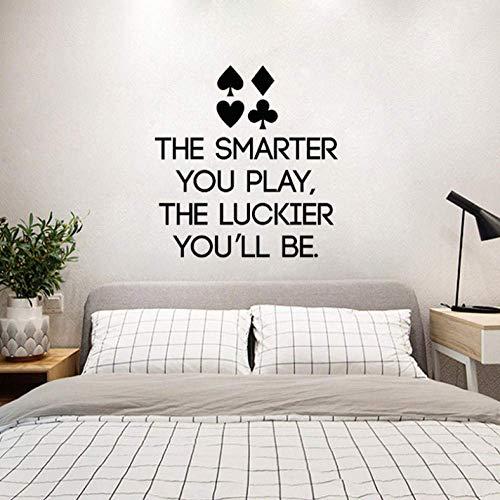 Poker Quote Decal Lettering Speel Casino Decor voor Kamer Slaapkamer Muurdecoratie 49,6 Cm*52 Cm