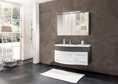 SAM Badmöbel Dali, 2tlg. Design Badezimmer Set, grau/weiß Hochglanz, Waschplatz 110 cm mit Mineralgussbecken Links, 1 Spiegelschrank, Softclose-Funktion