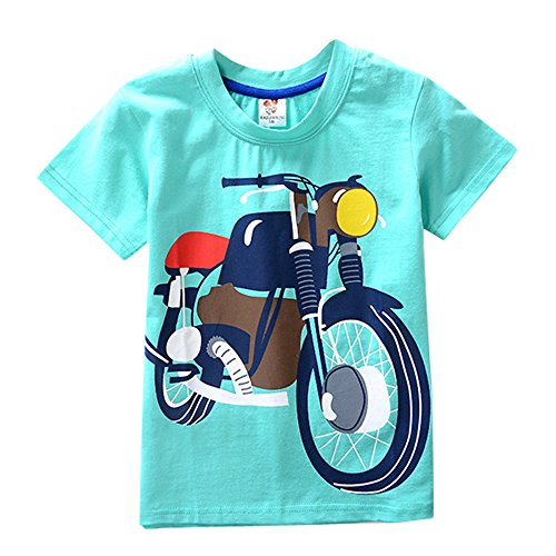BHYDRY NiñIto Niños Bebé Chico Chica De Ropa De Manga Corta De La Motocicleta Impresión De La Historieta Camiseta De Las Tapas De La Blusa(Verde,160)