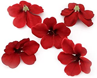 Fake flower heads in bulk Wholesale for Crafts Outdoor Wedding Paty Home Decoration DIY Wreaths Spring Silk Orchid Artificial Flower Heads Gladiolus Cymbidium Flowers 100pcs/lot (red)