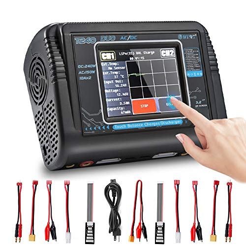 LiPo Charger RC Car Battery Charger Touch Screen Dual Balance Charger Discharger AC 150W DC 240W 10A for Li-ion Life NiCd NiMH LiHV PB Smart Battery