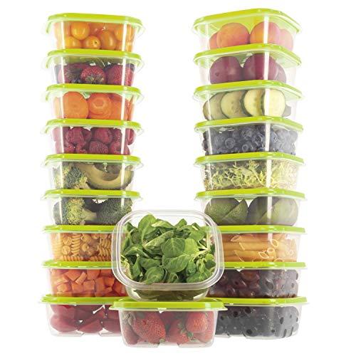 Oursson Lebensmittelbehälter 20 teiliges Set aus BPA-freiem Plastik, mit Deckel, Lunchbox (Grün, 20x400 ml), CP10081S/GA