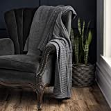 Welhome Premium Casablanca 100% Cotton Throw Blanket| Charcoal Grey | Honeycombed Knitted Textured | 50' x 60' | Supersoft Warm & Cozy | Decorative Throw Blanket for Couch, Sofa & Home Decor