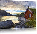 Pixxprint Sonnenaufgang am Fjord Norwegens als Leinwandbild