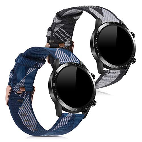 kwmobile Cinturino Compatibile con Huawei Watch GT2 (46mm) - 2X Fascetta per Smart-Watch Fitness-Tracker - in Nylon con Fibbia ca. 14-22 cm