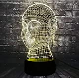 LED Night Light Illusion 3D New Buddha Head Tathagata Bless Enterprise Decoración del hogar Lámpara USB Flash Party Atmosphere Illusion Regalos