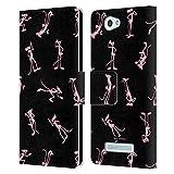 Head Case Designs Offizielle The Pink Panther Schwarz Pinktitude Leder Brieftaschen Huelle kompatibel mit Wileyfox Spark/Plus