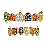 Shop-iGold 18K Gold Plated CZ Cluster Custom Slugs Top Bottom Rainbow Multi Color Grillz Fangs Mouth Teeth Grills Set - Grillz, Teeth Cap, Iced Out Grillz (Top & Bottom Set)