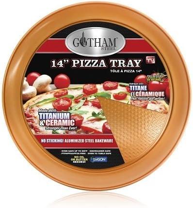 "Gotham Steel 14"" Perfect Pizza Tray – with Premium Nonstick Copper Coating – PTFE/PFOA Free"