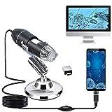 XVZ - Microscopio digital HD Micro USB 3 en 1 tipo C Micro USB, interfaz USB, aumento de 1600X con 8 LED mini cámara con soporte para personas compatible con Windows, Android y Mac