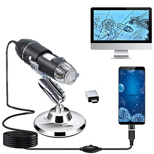 USB Digital Mikroskop,XVZ Handheld 50X bis 1600X Vergrößerung Endoskop,USB Schnittstelle Mikroskop mit Ständer und 8 LED Mini Kamera,kompatibel für Kompatibel mit Windows Android und Mac