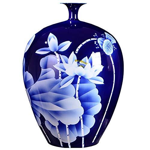 Cxp Boetieks Stijl Grote Blauwe Vaas Collectie Jingdezhen Keramische Master Handgeschilderd Wit Lotus Fijn Porselein Decoratieve Bloem Vaas Elegant