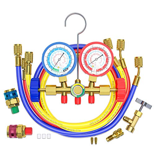 AURELIO TECH 3 Way AC Manifold Gauge Set, Fits for R134A R12 R22 and R502 Refrigerants, with 5FT Hose, Acme Tank Adapters, Quick Couplers and Can Tap (Instruction Included)