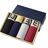 EYUSHIJIA Men's 4 Pack Comfortable Bamboo Fiber Boxer Briefs(Medium, D)