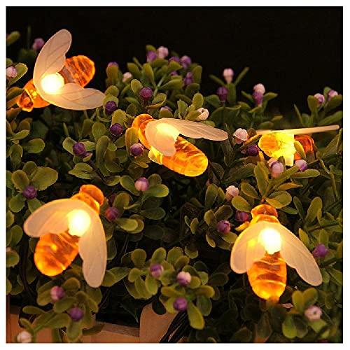 Luces De Cadena Al Aire Libre Decoración De Abejas Iluminación Bombilla Impermeable Luces De Cadena De Hadas Con 8 Modos De Luz Para Patio Yard Gazebo Porche,bee-8 Mode 7 m 50 LED Bulbs (Warm White)