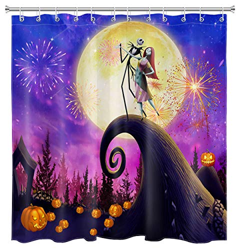 HVEST Nightmare Before Christmas Shower Curtain Halloween Pumpkin Shower Curtains Fireworks Night Halloween Fabric Shower Curtains Sets with Hooks for Bathroom Decor, 72W x 72H Inches