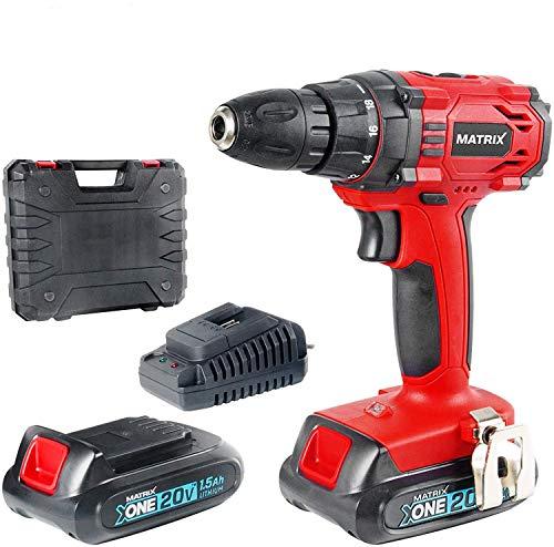 Matrix 511010604 AKN 20 Akkuschrauber mit 2 Li-Ion Akkus (1,5 Ah), Schnellladegerät + Koffer, 10mm Bohrfutter, LED Licht, klein, 20 V, rot, schwarz
