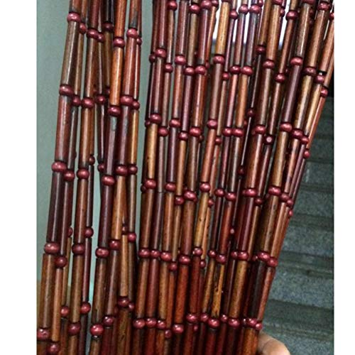 ABBD Bamboo Festival Wood Curtains Door String Bead Curtain for Doorways, Panel Closet Room Dividers Bedroom, Wall Decor, Customizable-90x200cm-60strands