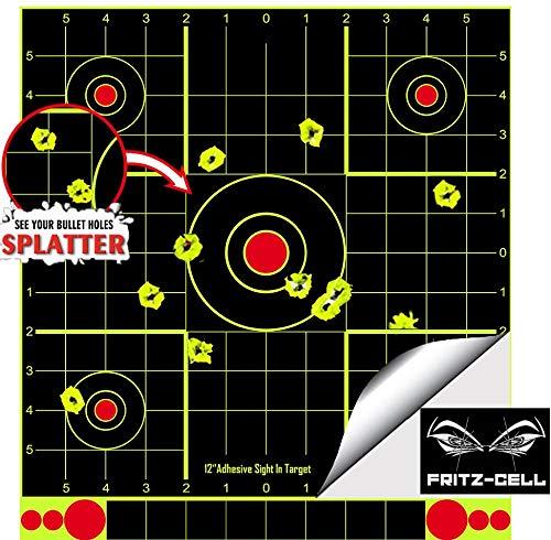fritz-cell 25 Splitterziele Splittersticker Typ 1213 selbstklebend Zielscheibe für alle Gewehre, Pistolen, Luftgewehre, Airsoft, BB, Diabolo kompatibel mit Splatterburst Zielen