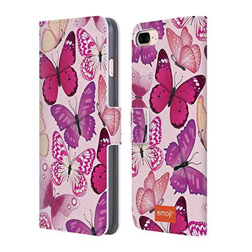 Head Case Designs Oficial Emoji® Rosa y Morado Mariposas Carcasa de Cuero Tipo Libro Compatible con Apple iPhone 7 Plus/iPhone 8 Plus
