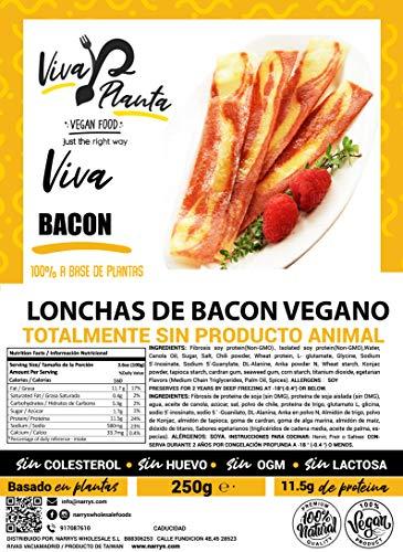 Tiras de Bacon Vegano 250g, Viva Planta | Vegan | Sin carne | 100% Vegetal | Plant Based | Sin Gluten (Pack de 3)