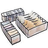 Camidy Juego de 3 Cajones Organizador de Ropa Interior Calcetines con Compartimentos 6/7/11 Divisor de Clasificación de Sostenes Organizador de Cajones Caseros Armario Ropa Interior