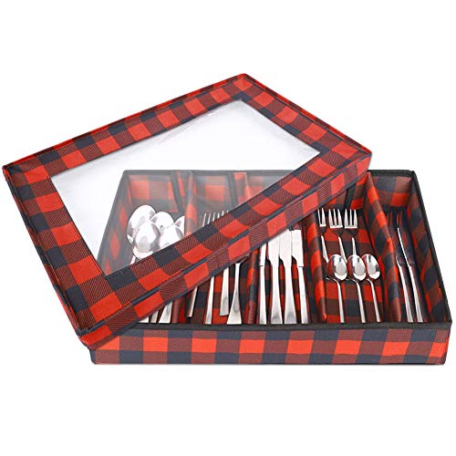 Flatware Storage Chest, Flatware Storage Box with Lid, Transparent Window and 2 Handles, Organizer with 5 Compartments for Utensils/Silverware