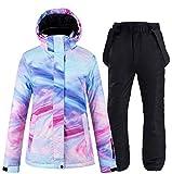 Ez4garden - Giacca da sci e pantaloni da snowboard da donna, con stampa colorata, antivento, impermeabile, caldo, nero, Small