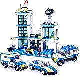 WSKL Bloques de construcción de estación de policía de la Ciudad, Ladrillos de helicóptero compatibles, Juguetes para niños, Regalos, celda de cárcel de Coche SWAT City Cop
