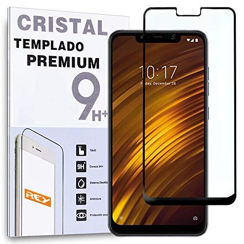 REY Protector de Pantalla Curvo para XIAOMI POCOPHONE F1, Negro, Cristal Vidrio Templado Premium, 3D / 4D / 5D