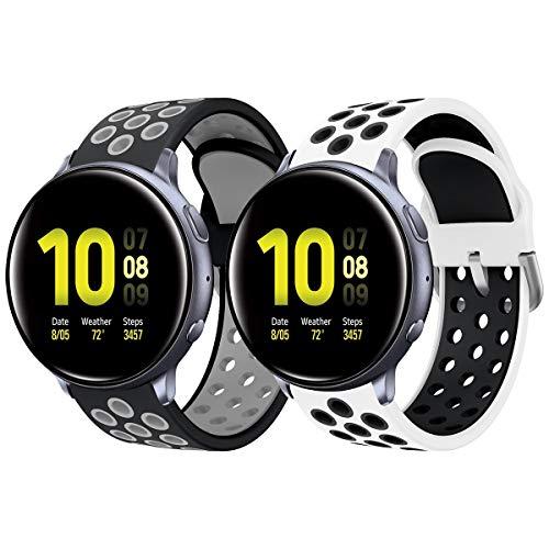 Syxinn Compatibile per 20mm Cinturino Galaxy Watch Active/Active 2 40mm 44mm/Galaxy Watch 42mm Braccialetto di Silicone Fascia da Polso Cinturini per Gear Sport/Gear S2 Classic/Vivoactive 3