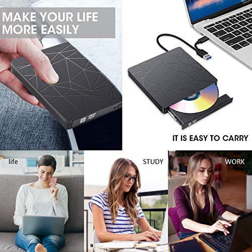 SAWAKE Externes CD/DVD Laufwerk USB 3.0 USB C, portable Slim CD/DVD-Lesegerät DVD-CD Player für Laptop, Desktop, Apple MacBook, MacBook Pro, MacbookAir, Windows 7/8/10, Linux, MacOS, Vista, Plug& Play