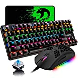 Mechanical Gaming Keyboard Blue Switch Mini 87 Keys RGB Backlit Keyboard,Programmable 6400DPI Ultra-Light Honeycomb Coal Game Mouse,Gaming Mouse pad for Gamers and Typists