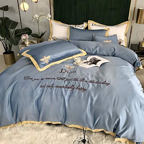 Bedding-LZ Funda de edredón de 105,Lava la Cama de Seda Cuatro Juegos de Pantallas de Seda Europeas Desnudas sábanas Desnudas-C_Cama de 1,8 m (4 Piezas)
