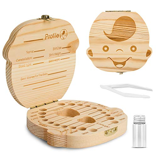 Baby Tooth Box ,Wooden Kids Keepsake Organizer for Baby Teeth, Cute Children Tooth Container with Tweezers and lanugo Bottle to Keep the Childhood Memory (Boy)