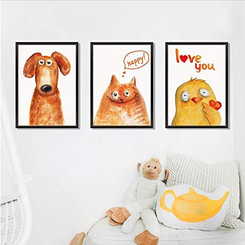 GKAWHH Cartoon Tier Bilderrahmen Wandaufkleber Triptychon Lustige Tier Hund Katze Vogel Wandaufkleber Schlafzimmer Dekoration 106 * 45 cm 3D
